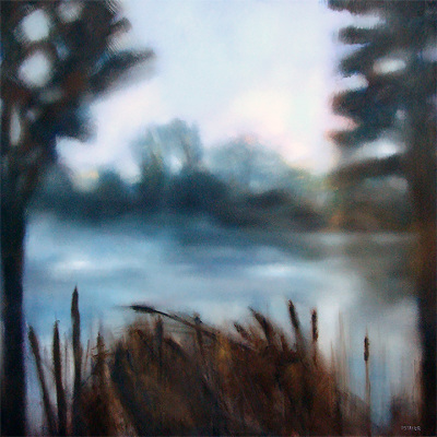 river, oil painting, Summer, leaves, misty, foggy, ethereal, landscape, blue, green, squarel, pond, lake, water, cattails, twilight, sunrise