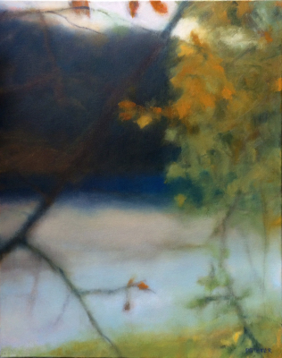 river, oil painting, Summer, leaves, misty, foggy, ethereal, landscape, blue, green, square, pond, lake, water, twilight