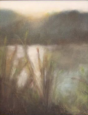 Sunrise, river, oil painting, Summer, leaves, misty, foggy, ethereal, landscape, blue, green, vertical, pond, lake, water